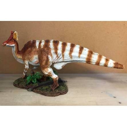 Olorotitan gehend, Schädelkamm Rot, Dinosaurier-Modell