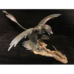 Microraptor jagt Eomaia, Dinosaurier Diorama, Grau
