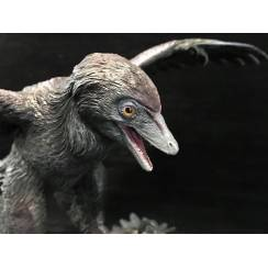 Microraptor hunting Eomaia, Diorama grey