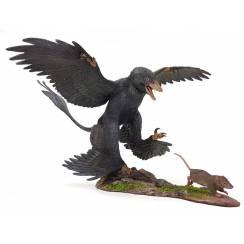 Microraptor jagt Eomaia, Dinosaurier Diorama, Schwarz
