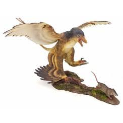 Microraptor jagt Eomaia, Dinosaurier Diorama, Braun
