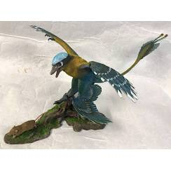 Microraptor jagt Eomaia, Dinosaurier Diorama, Blau