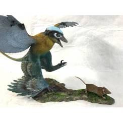 Microraptor jagt Eomaia, Diorama Blau