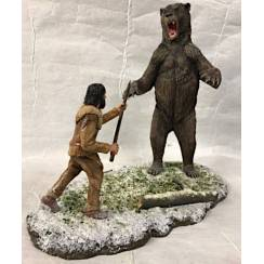 Arctodus short faced bear vs. Clovis hunter, Diorama