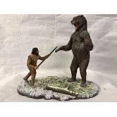 Arctodus short faced bear vs. Clovis hunter, Diorama