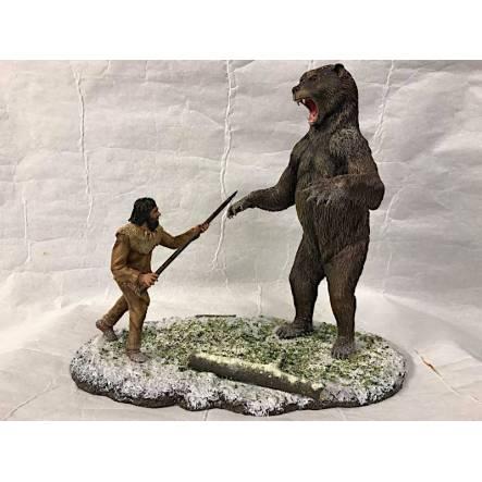 Kurznasenbär Arctodus vs. Clovis-Jäger, Diorama
