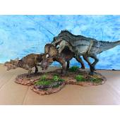 T. rex attacks Triceratops, Diorama by Sean Cooper