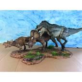 T-Rex jagt Triceratops, Dinosaurier Diorama von Sean Cooper