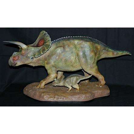 Torosaurus with Baby, Dinosaur Model by Shane Foulkes