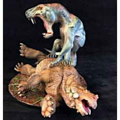 Inostrancevia grau-blau vs. Scutosaurus, Modell von Vitali Klatt