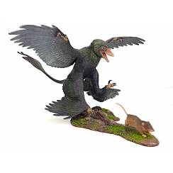 Microraptor jagt Eomaia, Dinosaurier Diorama, Rabe