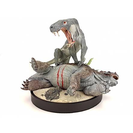 Inostrancevia (dunkle Augen) vs. Scutosaurus, Modell von Vitali Klatt