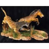 Machairodus hunting Pliohippus, Model by Sean Cooper