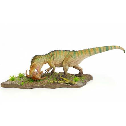 Torvosaurus with Prey - green stripe, Dinosaur Model by Francesco Salerno