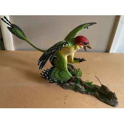 Microraptor jagt Eomaia, Dinosaurier Diorama, Grün