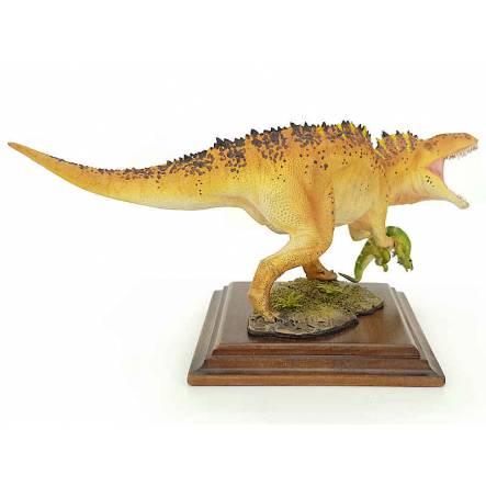 Acrocanthosaurus mit Beute, braun-weiß, Dinosaurier Modell von Alexander Belov