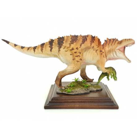 Acrocanthosaurus with Prey, brown stripes, Dinosaur Model by Alexander Belov