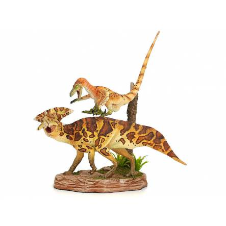 Velociraptor vs. Protoceratops, Dinosaur Diorama - Repaint