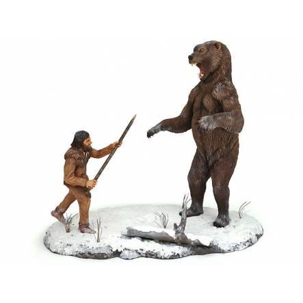 Arctodus short faced bear vs. Clovis hunter, Diorama by Shane Foulkes
