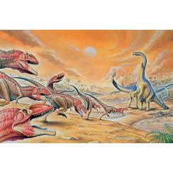 Mapusaurus attacking Argentinosaurus, Dinosaur Poster by Fabio Pastori