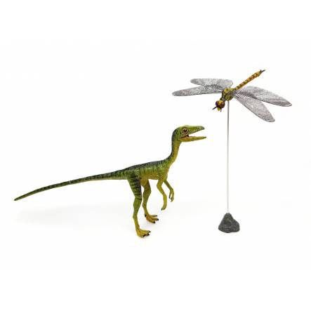 Compsognathus 'Sentry' with Dragonfly, Dinosaur Model by Rebor