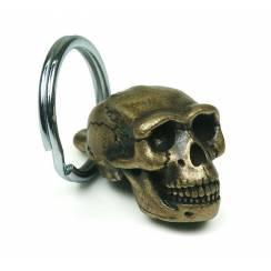 Homo erectus Schädel, Ur-Mensch Anhänger aus Messing