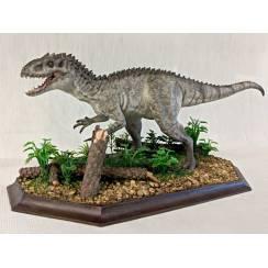 Indy Rex, Maul auf, Modell mit Baumstumpf